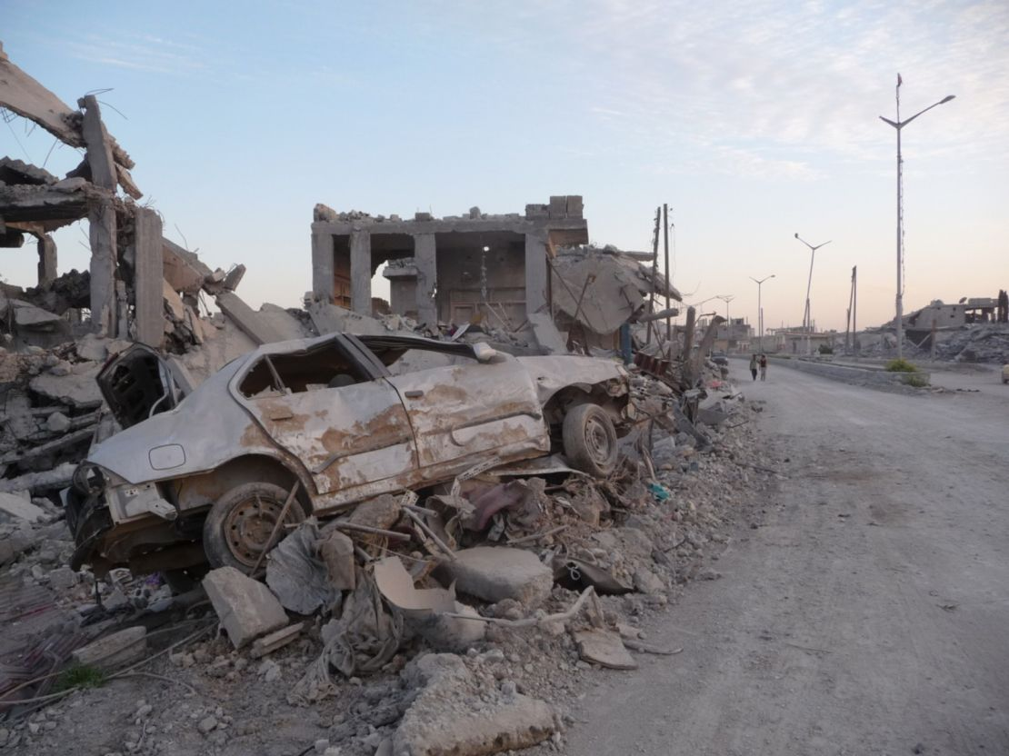 Residential buildings destroyed by the bombardments