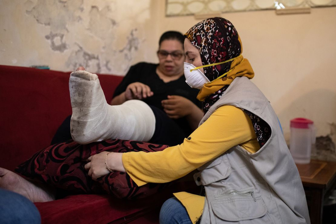 Nada Baghdadi, 27, has a fracture in her leg caused by the explosion at Beirut port on 4 August.